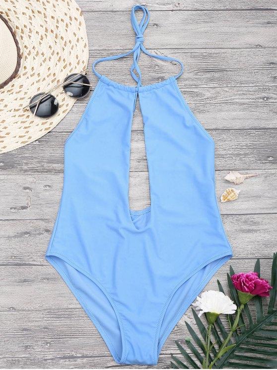 best Halterneck Keyhole Plunge One Piece Swimsuit - BLUE M