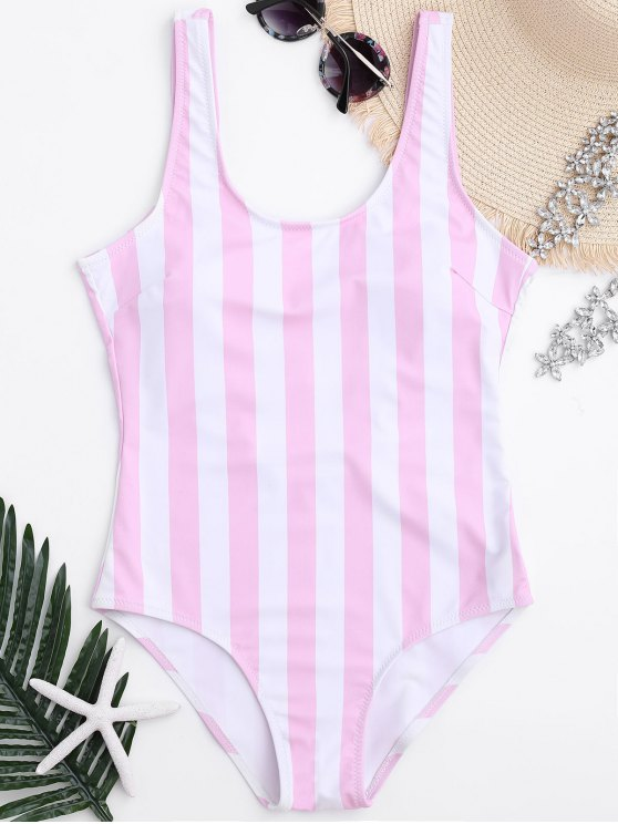 shops Striped Shaping Padded One Piece Swimsuit - PINK AND WHITE S
