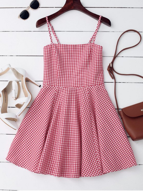 new Cut Out back Checked Mini Dress - CHECKED S