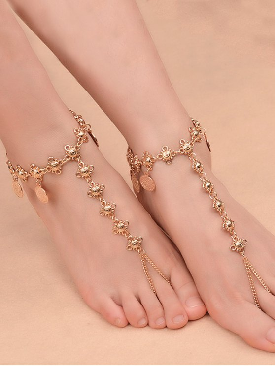 shops 1PC Coins Fringed Charm Vintage Slave Anklet - GOLDEN