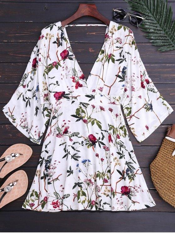 sale Kimono Sleeve Floral A-Line Dress - FLORAL S
