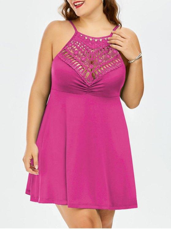 shops Plus Size Lace Trim Empire Waist Slip Dress - TUTTI FRUTTI XL