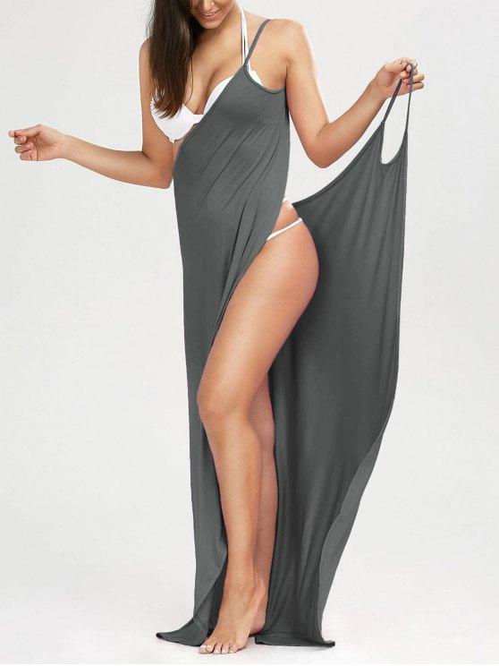 Robe de plage longue style wrap - Gris L