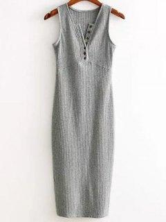 Side Slit Ribbed Dress - Light Gray