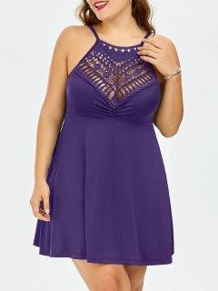 Plus Size Lace Trim Empire Waist Slip Dress - Deep Purple Xl