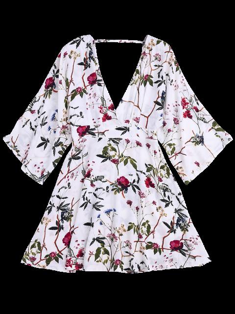 sale Kimono Sleeve Floral A-Line Dress - FLORAL S Mobile