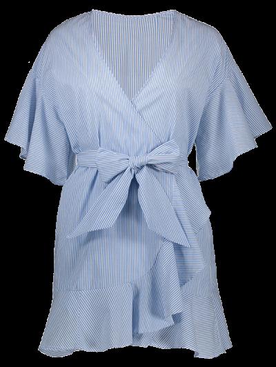 Striped Plunging Neck Wrap Dress - Light Blue