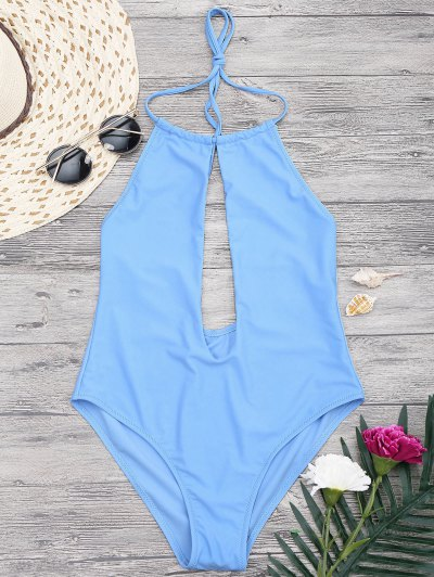Zaful Halterneck Keyhole Plunge One Piece Swimsuit