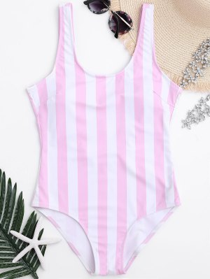 Striped Shaping Padded One Piece Swimsuit - Pink And White