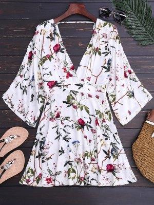 Kimono Sleeve Floral A-Line Dress - Floral