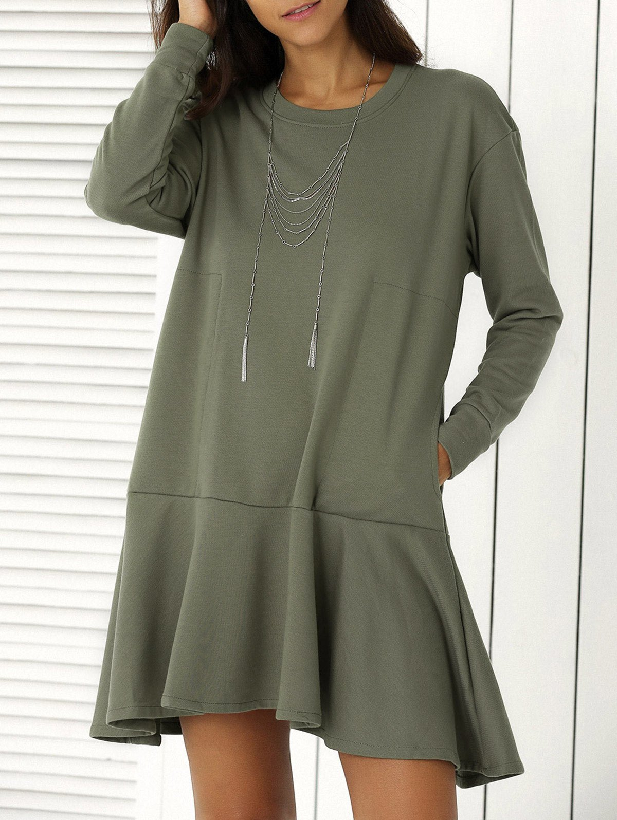 Solid Color Ruffle Hem Sweatshirt Dress 190140903