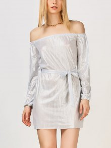 Off The Shoulder Metallic Dress - Silver White M