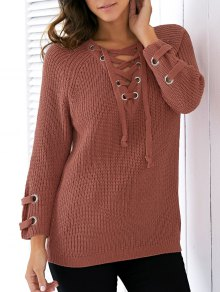 Lace Up V Neck Solid Color Sweater - Jacinth