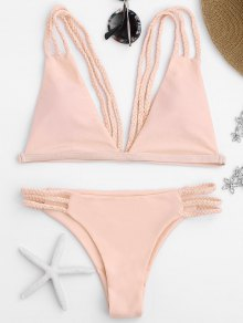 Low Cut Strappy Bralette Bikini - Pink M