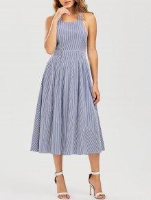 Striped Straps A Line Dress