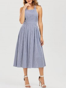 Striped Straps A Line Dress - Stripe