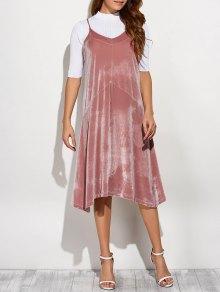 Loose Velvet Midi Dress - Pink