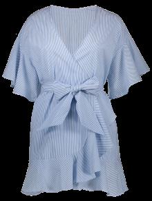 Robe Porte-feuille Décolleté Plongeant à Rayures - Bleu Clair