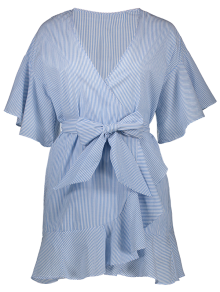 Striped Plunging Neck Wrap Dress - Light Blue