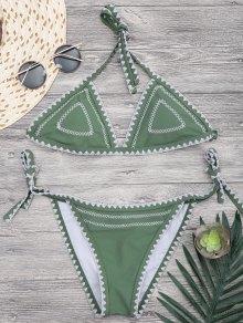 Halterneck Crochet String Bikini Set - Green L