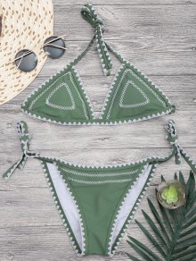 Halterneck Crochet String Bikini Set