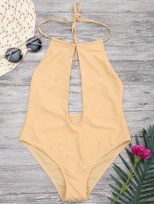 Halterneck Keyhole Plunge One Piece Swimsuit - Yellow S