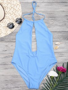 Halterneck Keyhole Plunge One Piece Swimsuit - Blue S