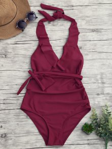 Halterneck Ruffle Ruched One Piece Swimsuit - Burgundy L