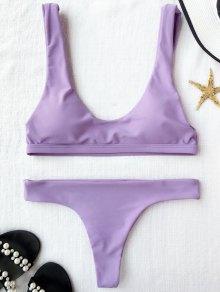 Padded U Neck Bralette Thong Bikini - Light Purple S