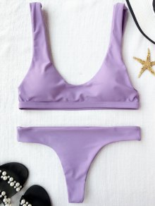 Padded U Neck Bralette Thong Bikini - Light Purple M