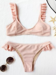 Ribbed Texture Ruffles Bikini Set