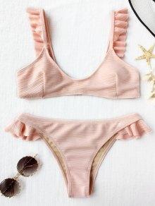 Ribbed Texture Ruffles Bikini Set - Shallow Pink