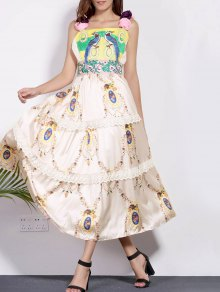 Bird Embroidery Cami Lace Splice Maxi Dress