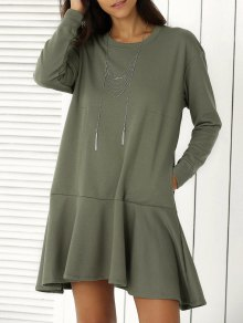 Solid Color Ruffle Hem Sweatshirt Dress