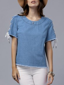 Vintage Lace-Up Round Neck Short Sleeve T-Shirt