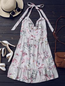 Half Buttoned Ruffles Floral Mini Dress - Floral M