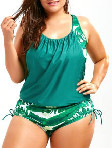Plus Size Faux Twinset Palm Leaf Swimwear - Lake Green Xl