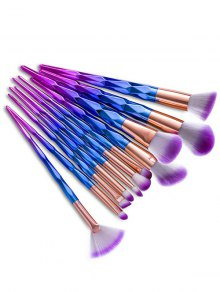 12Pcs Fancy Gradient Color Taper Angular Makeup Brushes Set - Blue Violet