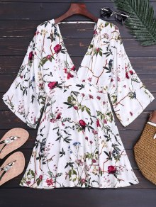 Kimono Sleeve Floral A-Line Dress - Floral S