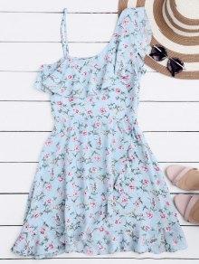 Mini Vestido Floral Con Un Hombro Solo De Volantes - Floral L