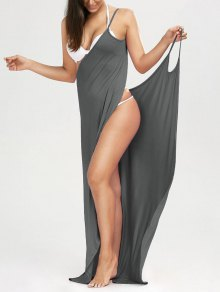 Beach Maxi Wrap Slip Dress - Gray Xl