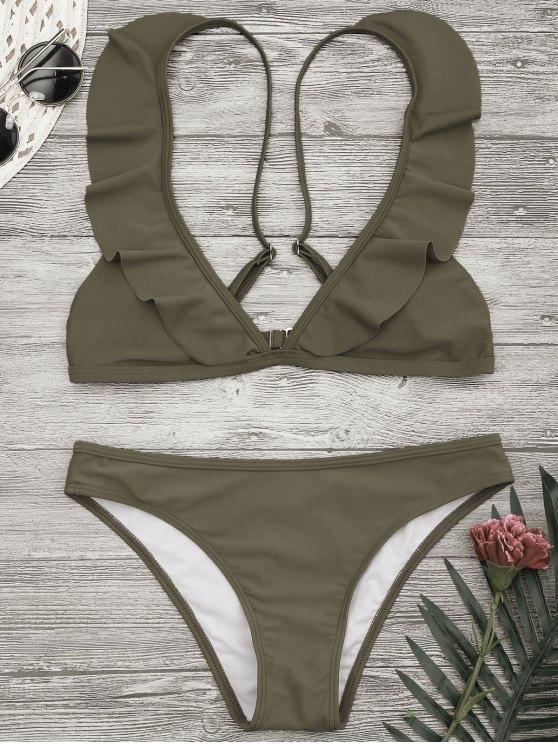 Conjunto de bikini con correa de volantes acolchado - Caqui S