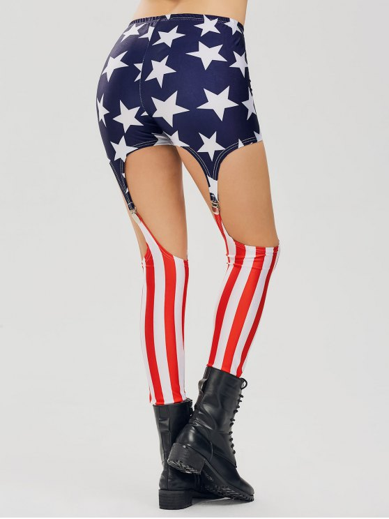 Cut Out American Flag Patriotic Leggings - Multicolore 2XL