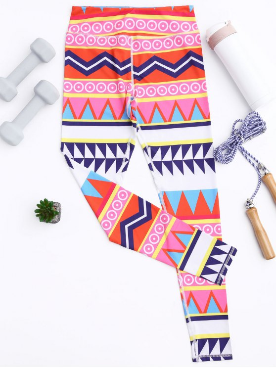 ladies Zigzag Geometric Print Footless Leggings - MULTICOLOR M