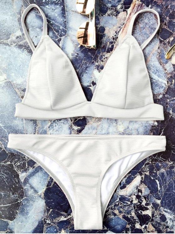Cami Plunge Juego de bikini Bralette - Blanco S