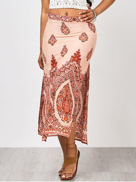 outfit Floral Slit Beach Maxi Skirt - FLORAL M