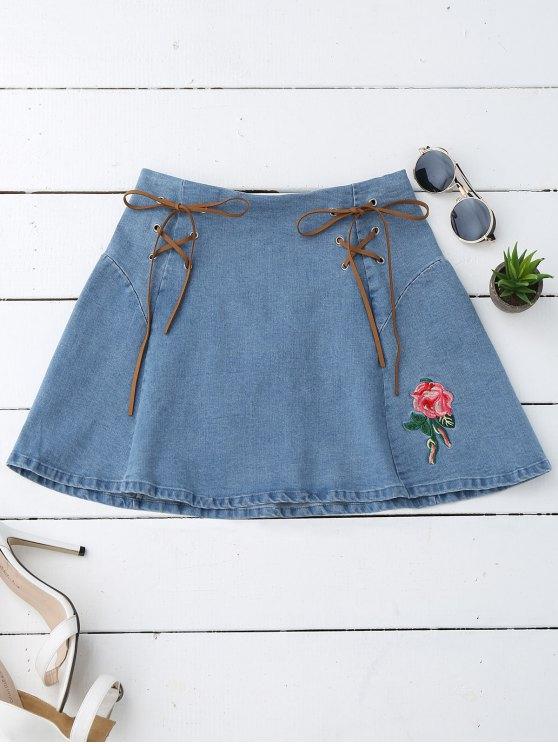 Floral bordado ata la falda del dril de algodón - Denim Blue S