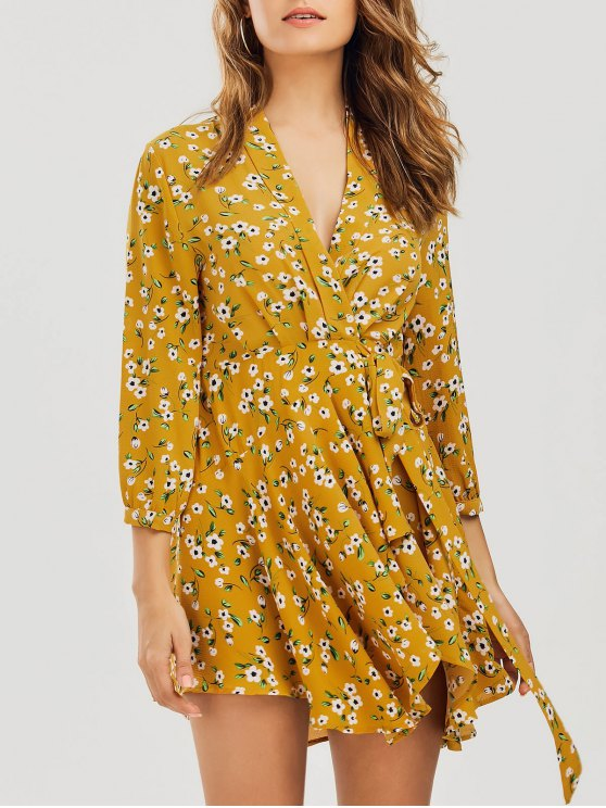 chic Floral Asymmetrical Wrap Mini Dress - FLORAL S