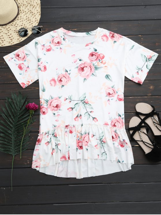 lady Floral Ruffles High Low T-Shirt Dress - WHITE XL