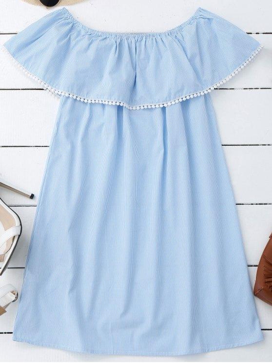 hot Stripes Lace Trim Off Shoulder Mini Dress - STRIPE L